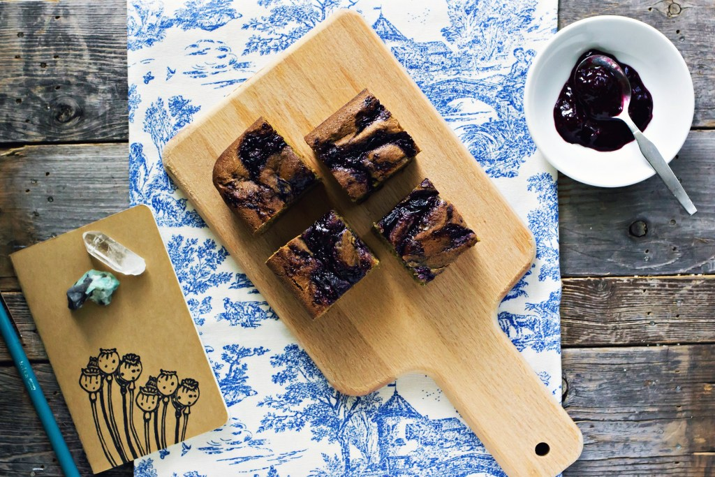 tahini blondies with blueberry chia jam swirl | via sweet miscellany #vegan #glutenfree #plantbased