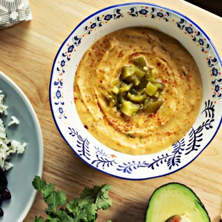 vegan green chile queso | plant based recipes by sweet miscellany