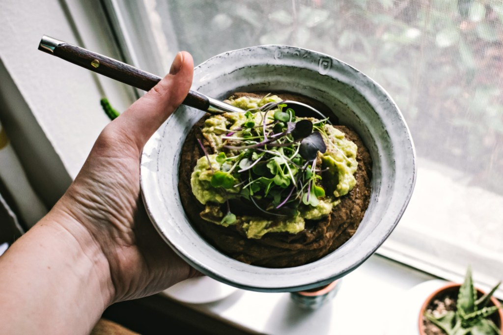 Sweet Potato Black Bean Soup with Sage Avocado Cream & Cumin Scented Millet Flatbread | plant based magic via the sweet miscellany blog