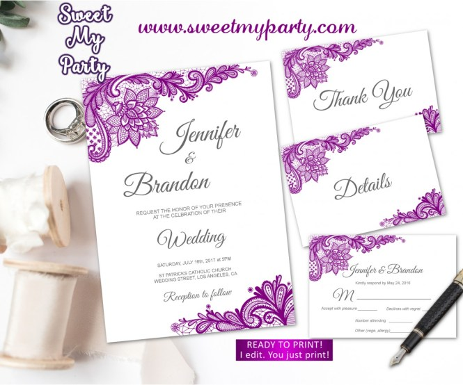 Purple Wedding Invitation Suite Set Lace 115w