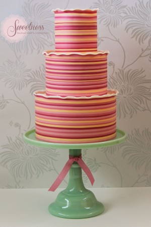 Stripe wedding cake, wedding cakes london, bright and bold wedding cakes, ombre wedding cakes