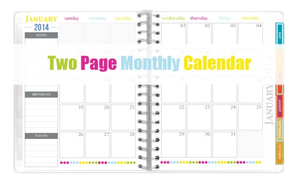 two page monthly 2014 calendar - Sweet Paper Trail