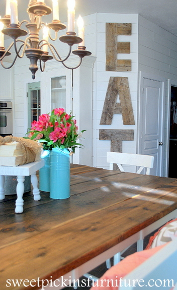 Sweet Pickins Furniture - plank wall with reclaimed wood letters