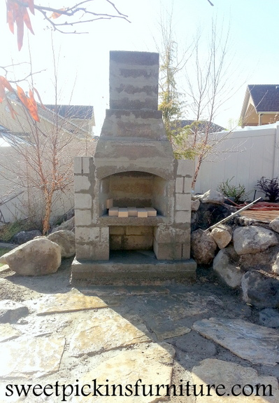 {Backyard fireplace} - Part 1 | Sweet Pickins Furniture on Outdoor Fireplace With Cinder Blocks id=89939