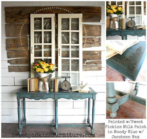 Moody Blue Sofa Table - Raised stencil tutorial