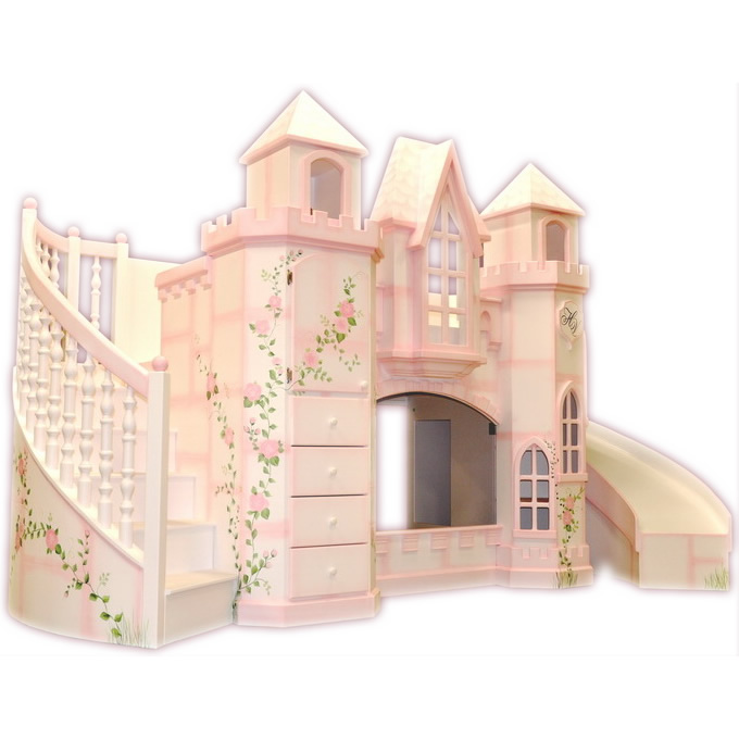 vicarello castle bed w curved slide staircase