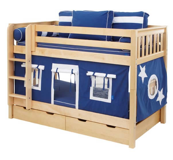 boys play fort bunk bed by maxtrix kids navy blue white on natural 700 1
