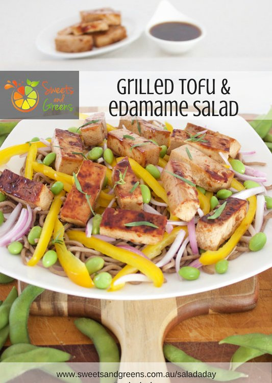 Day 29 of Salad a Day Grilled Tofu and Edamame. Many people dislike tofu but with the right marinade the flavour is takes on other flavours.