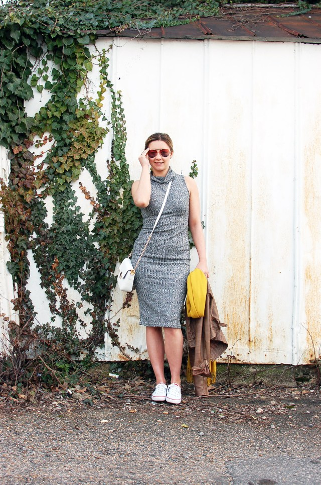 white keds with grey midi dress outfit