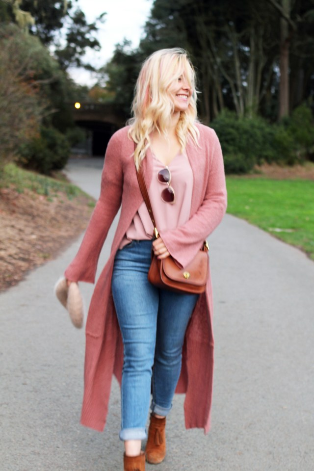 pink duster sweater