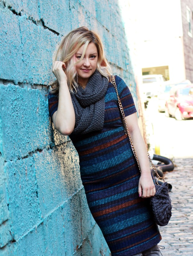 striped sweater dress outfit