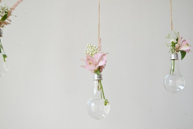 Upcycled DIY Light Bulb Vases with Pink Flowers Babys Breath Hanging DIY Planters