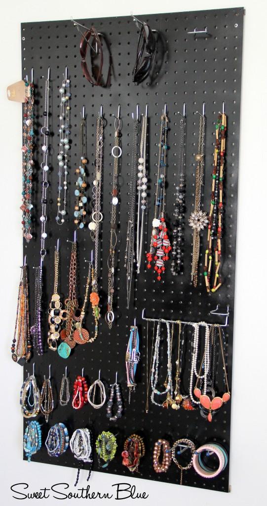 DIY Peg Board Jewelry Holder Sweet Southern Blue