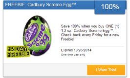 Just in time for Halloween! #FridayFreebie Cadbury Screme Egg Is Free