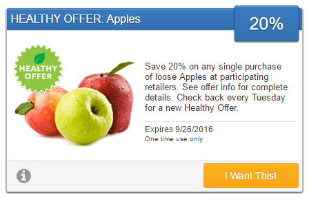 Save 20% on any single purchase of loose apples at participating retailers. Check back every Tuesday for a new Healthy Offer.