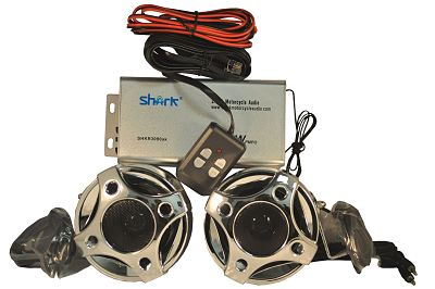 Find out why we like the SHARK, the SHARK that goes BOOM! Shark SHKMRC3090DBC 250w Motorcycle/Snowmobile Audio System with 3