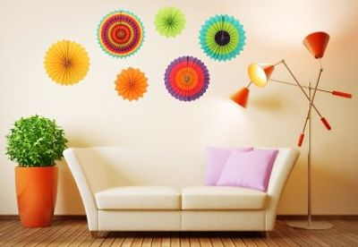 Add Instant Color With These Fiesta Colorful Paper Fans - BRIGHT & COLORFUL Ohuhu Paper Fans Displayed On Wall