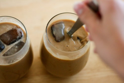 Cocomocha Iced Coffee being stirred.