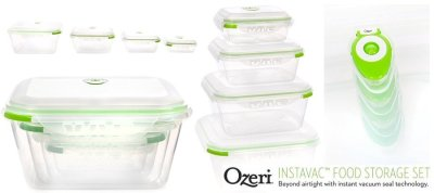 Ozeri INSTAVAC Green Earth Food Storage Container Set