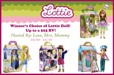 Worldwide Winner's Choice of Lottie Doll Giveaway ends 11/10/17