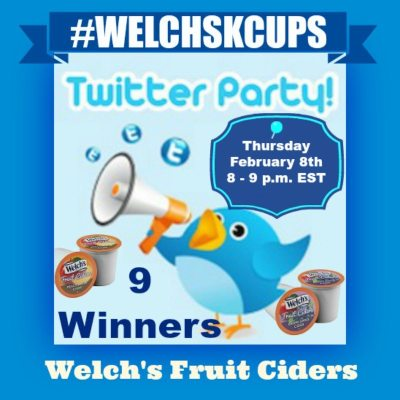 Join US! Thursday, February 8th for the #WELCHSKCUPS Welch's Fruit Cider Twitter Party
