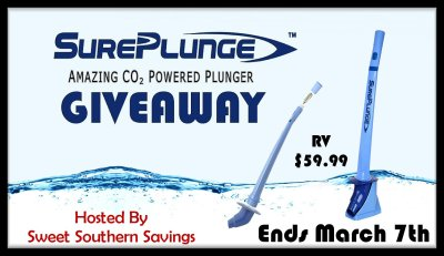 SurePlunge Amazing CO2 Powered Plunger Giveaway Ends 3/7/18