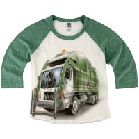 Shirts That Go Little Boys' City Garbage Truck Raglan T-Shirt