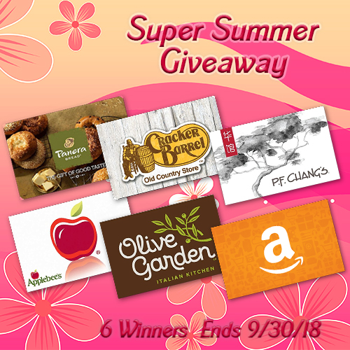 Want To Be 1 of the 6 Super Summer Giveaway Winners? Enter Before 9/30 For Your Chance To WIN!