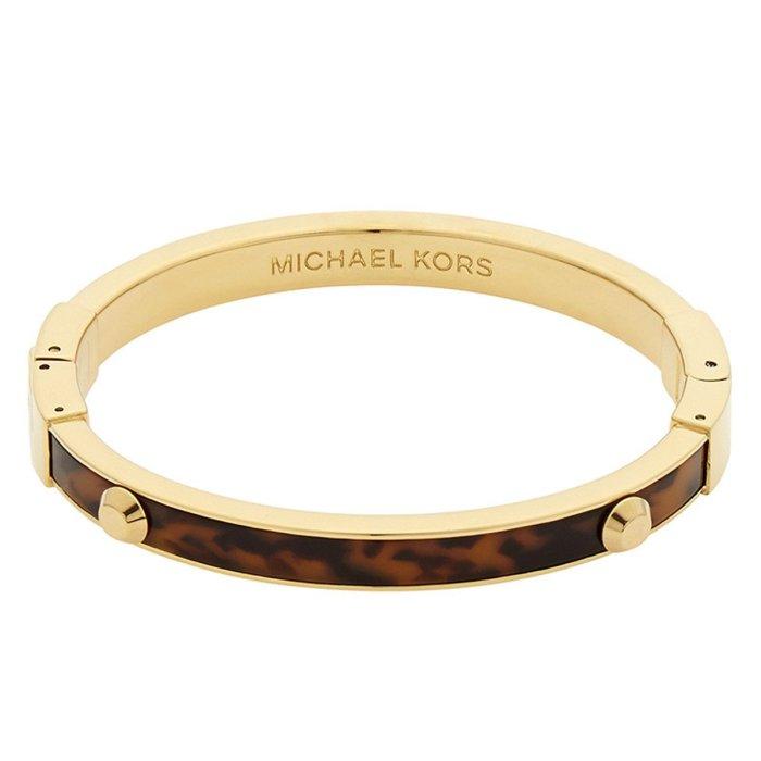 Michael Kors Women's Bangle Bracelet - Astor Yellow Gold Steel & Tortoise Acetate
