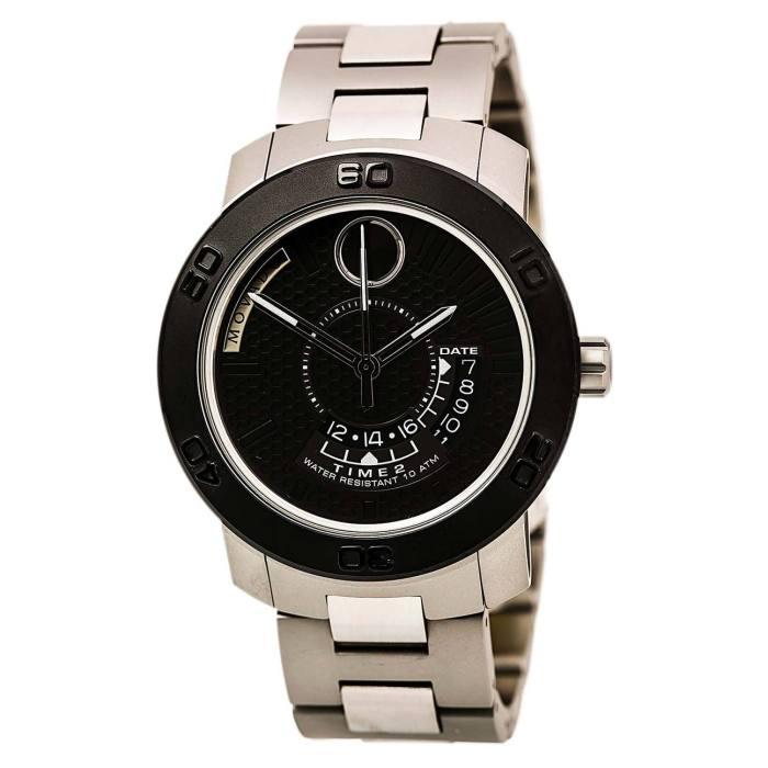 Movado 3600383 Men's Bold Stainless Steel Bracelet Black Dial Quartz Date Watch