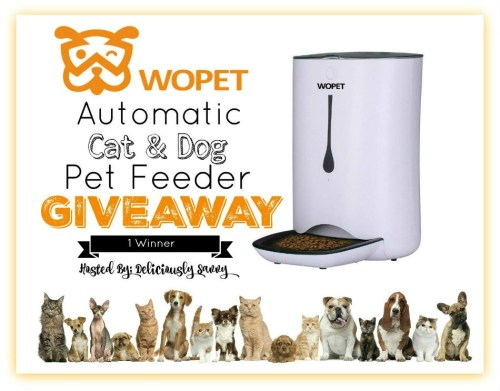 One Lucky Pet Will Be Taken Care Of With This WOpet Automatic Cat & Dog Pet Feeder When This Giveaway Ends 8/11