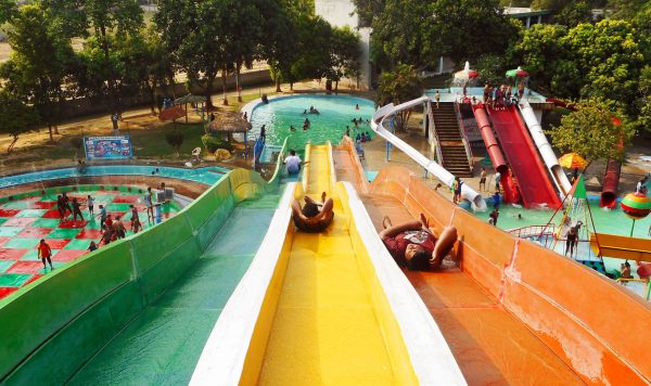People enjoying summer vacation at Anandi Water Park on eastern outskirts of Lucknow