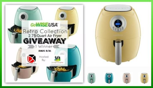 One lucky winner will receive a GoWISE USA Retro Collection 2.75-Quart Air Fryer in their choice of color when this giveaway ends 8/31!