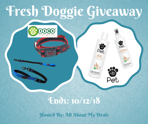 When this Fresh Doggie DOCO Pet Giveaway ends one lucky winner will receive ANY DOCO Pet Leash or Collar of their choosing ARV: $11-$36 AND a bottle of JP Pet Oatmeal dog shampoo and conditioning spray (ARV$22) 10/12. #Win #Winit #Winning #Sweeps #Sweepstake #Sweepstakes #Contest #ContestAlert #Competition #Giveaway #GiveawayAlert #Prize #Free #Gift