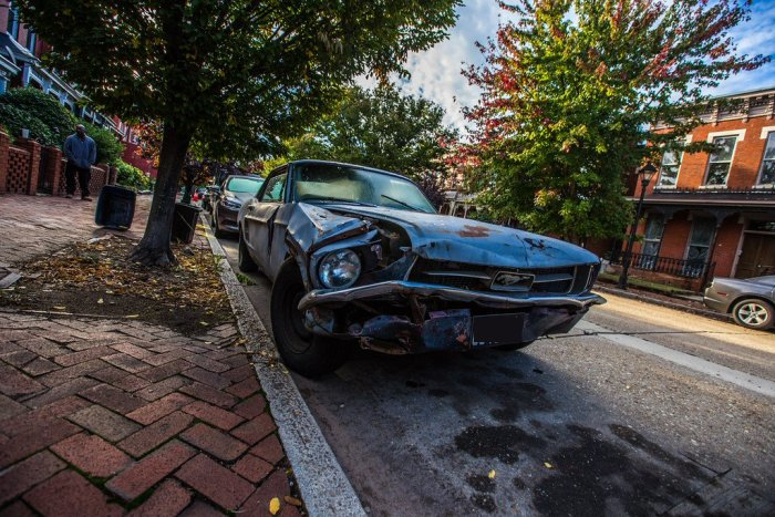 Totaled Ford Mustang Car