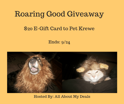 Turn Your Kitty or Pooch into a roaring LION! Enter to #Win a $20 #GiftCard to Pet Krewe before the Roaring Good #Pet Costumes #Giveaway ends 9/24 #Halloween #Costume