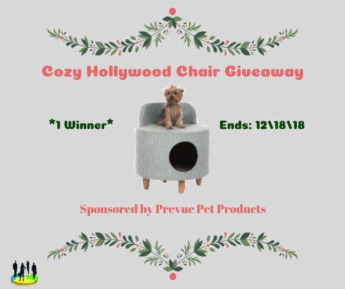 Enter for a chance to be the lucky winner who will win a Cozy Hollywood Dog and Cat Chair worth $90 for their pet when this giveaway ends 12/18. #Win #Giveaway #GiveawayAlert #Prize #Free #Gift #Holiday #SMGN #GiftGuide