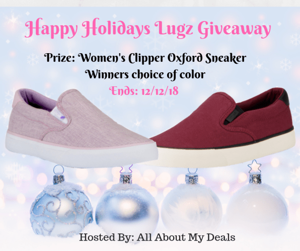 You can #win a pair of Woman's Lugz Clipper Oxford Sneakers in your choice of color when this Happy Holidays #Giveaway ends 12/12! #SMGN #GiftGuide #Winit #Sweeps #ContestAlert #GiveawayAlert #Prize #Free #Gift #Holiday #Christmas