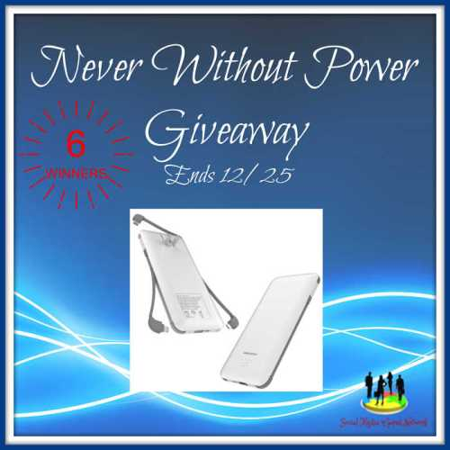 6 WIN a Power Bank when this Never Without Power #Holiday #Giveaway ends 12/25. #SMGN #GiftGuide #Winit #Sweeps #ContestAlert #GiveawayAlert #Prize #Free #Gift #Christmas