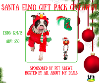 Enter for a chance to be the lucky winner who will win a Santa Elmo costume, Elmo dog rope toy, and Elmo catnip toy when this Giveaway ends 12/20. #Win #Giveaway #GiveawayAlert #Prize #Free #Gift #Holiday #SMGN #GiftGuide