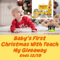 One lucky winner will welcome Baby's First Christmas With Teach My when they win this Holiday Giveaway that ends 12/19 #SMGN #GiftGuide #Win #Winit #Sweeps #ContestAlert #Giveaway #GiveawayAlert #Prize #Free #Gift #Holiday #Christmas