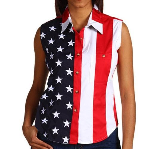 Patriotic Holidays and Patriotic Clothing - Show Your #Patriotism #USA #TheFlagShirt #ad - Woven American Flag Sleeveless Flag Stars Womens Button Down Shirt