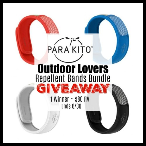 One Lucky Winner will receive 4 PARA'KITO Repellent Bands 1 White, 1 Red, 1 Blue & 1 Black design PLUS each band comes with 2 PARA'KITO Repellent Cartridges that last up to 15 days each! TRV $80 #Contest #Winit #Graduation #MothersDay #FathersDay #GiftGuide #Gift
