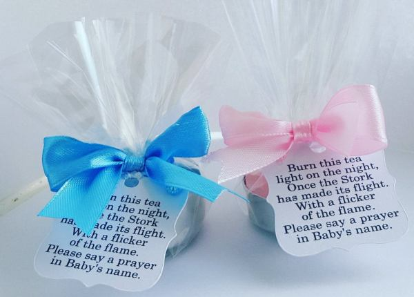 How To Host a Baby Shower on a Small Budget - Money saving tips to help you plan a baby shower. Baby Shower Tea Light Party Favors #BabyShower #Budget #Baby #Party