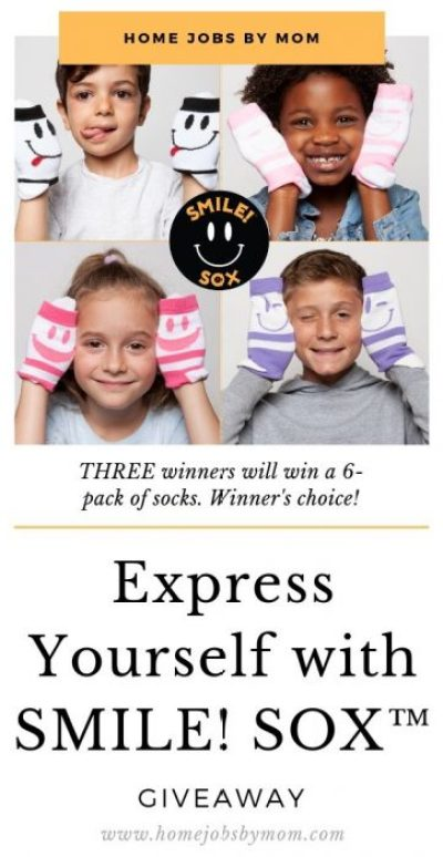 Three lucky winners will get to express themselves with their choice of Smile Sox when this Express Yourself Giveaway ends 9/23! Enter to #Win #SmileSox #Giveaway #Contest Today! @homejobsbymom @smile_sox