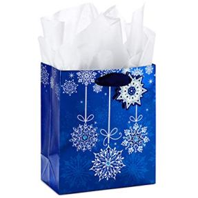 Blue Snowflake Ornaments Hallmark Small Holiday Gift Bag with Tissue Paper