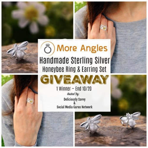 One lucky winner will #win handmade sterling silver honeybee earrings & a honeycomb sterling silver and gold bee ring when this gift guide #giveaway ends 10/20.