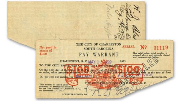 """In October 1929, only months after Hoover took office, the stock market crashed, the average value of 50 leading stocks falling by almost half in two months. During the Great Depression, money was so scarce, that local governments like the City of Charleston were forced to pay employees using scrip – a type of """"emergency currency"""" that served as an IOU. In order to keep the sagging economy going, local currency was born. The forms of this currency include such diverse material as paper, cardboard, wood, metal, tokens, leather, and clamshells. Across the nation in the 1930s, 15 million were unemployed. Thirty percent of South Carolina's workforce had no jobs. Free food lines were the norm."""
