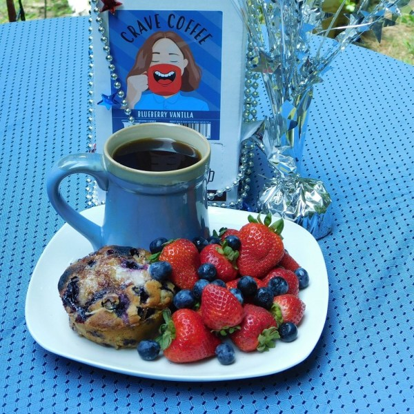 The Best Red, White, and Blue Breakfast starts with a Jordan Marsh Blueberry Muffin and Crave Blueberry Flavored Coffee. #RedWhiteBlue #July4th #IndependenceDay #USA