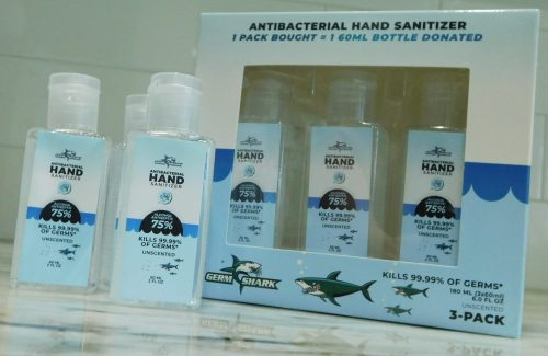 Germ Shark Hand Sanitizer Travel Size -This gel-based 75% Ethanol (Ethyl) Alcohol hand sanitizer comes in a set of three 60ml bottles.